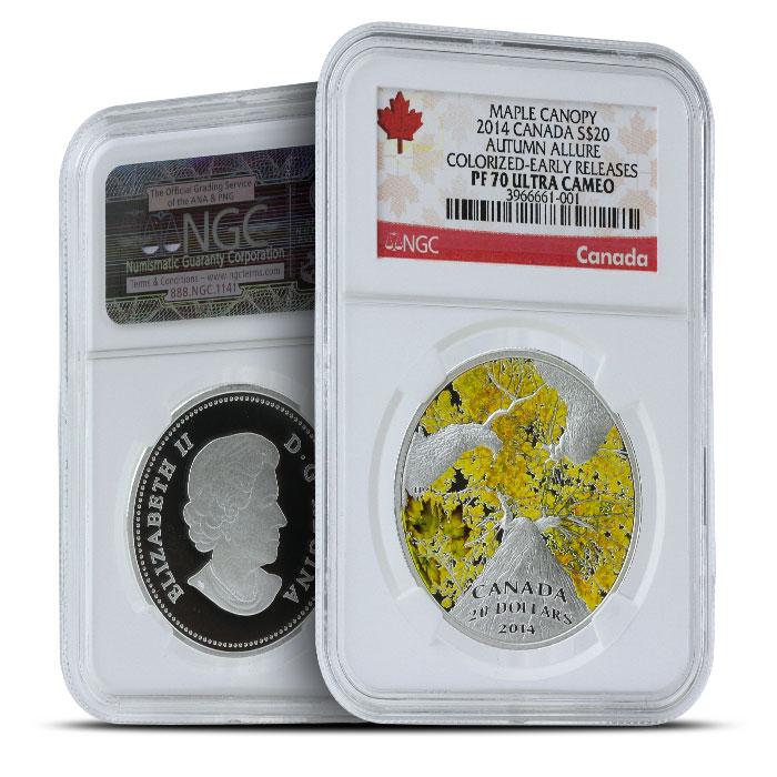 2014 1 oz $20 Silver Maple Canopy | Autumn Allure NGC PF70