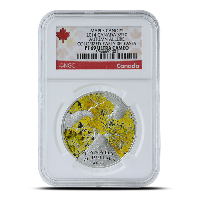 2014 1 oz $20 Silver Maple Canopy | Autumn Allure NGC PF69 Obverse