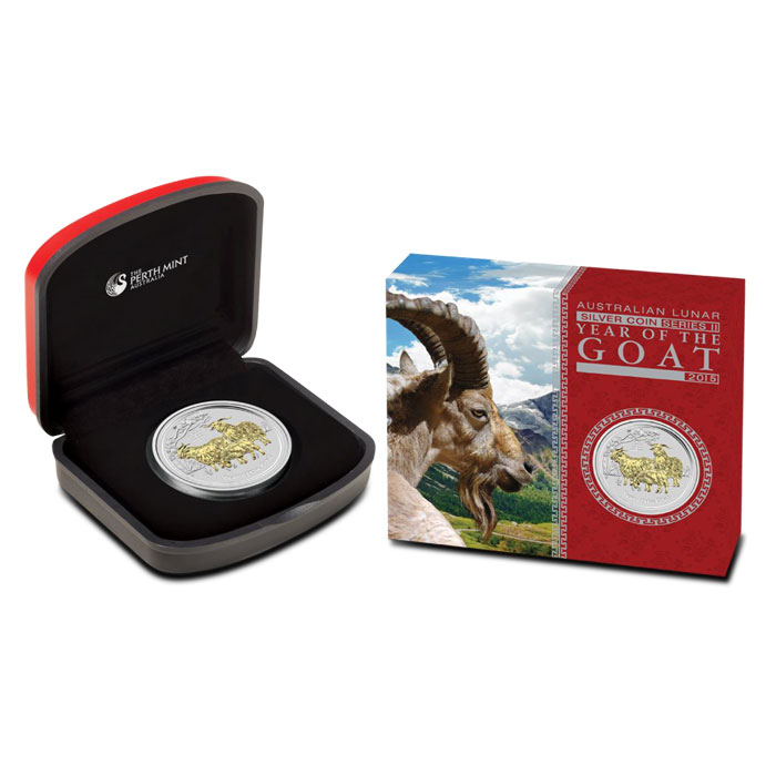 2015 Australian Year of the Goat 1 oz Gilded Silver Coin packaging