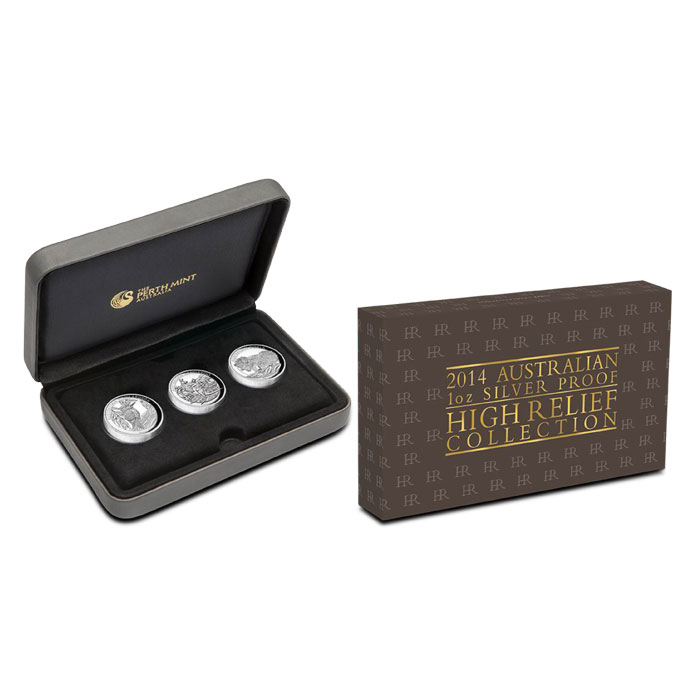 2014 Perth Mint High Relief Collection | 3 Coin Proof Set packaging