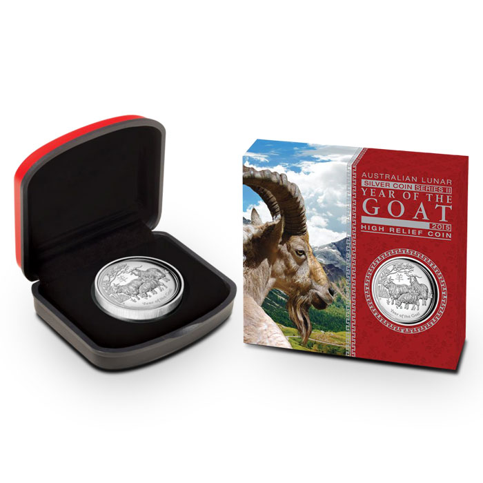 2015 1 oz Silver Australian Year of the Goat | High Relief | Perth Mint Lunar Series 2 packaging