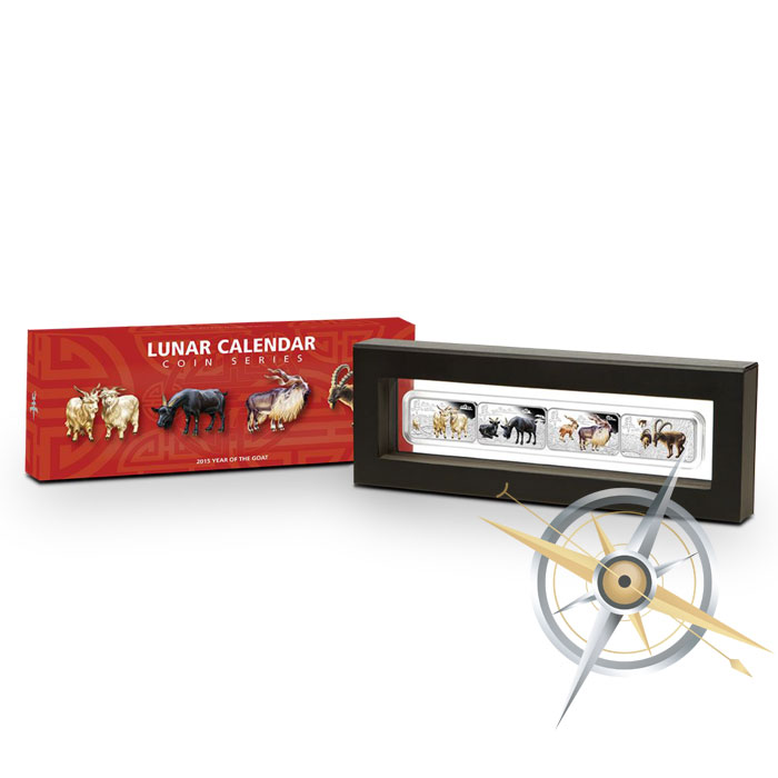 015 Perth Lunar Year of the Goat Silver Rectangle 4 Coin Silver Proof Set packaging