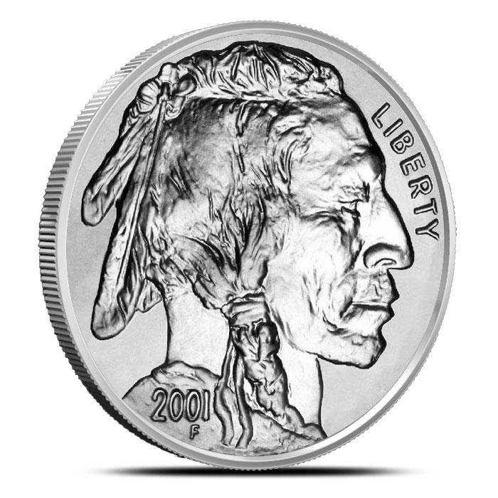 2001 P American Buffalo 2 Coin Set Commemorative BU Silver Dollar Coin Obverse