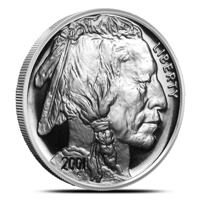 2001 P American Buffalo 2 Coin Set Commemorative Proof Silver Dollar Coin Obverse