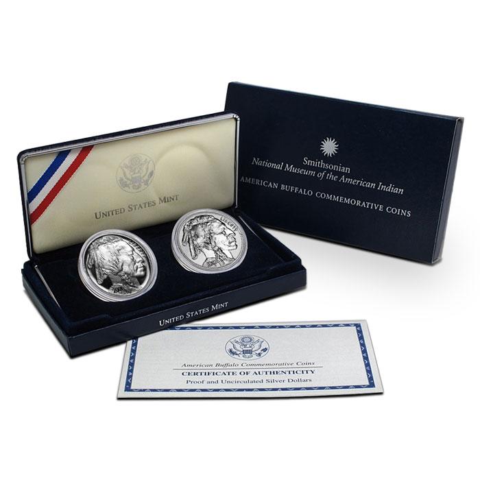 2001 P American Buffalo 2 Coin Set Commemorative Proof & BU Silver Dollar Coins