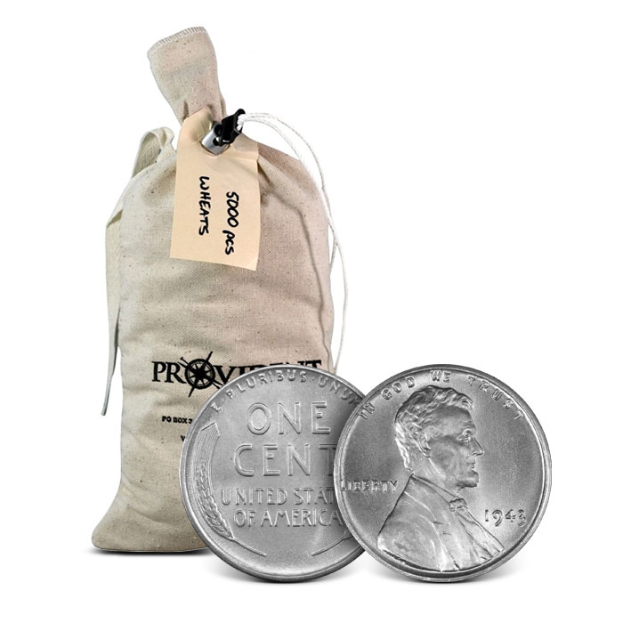 5000 pc Bag of Lincoln Steel Cents
