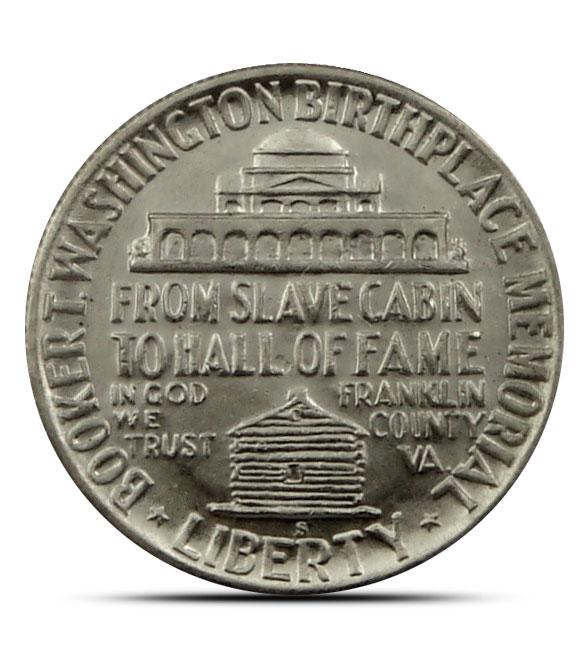 AU+ Booker T. Washington Silver Half Dollar Reverse