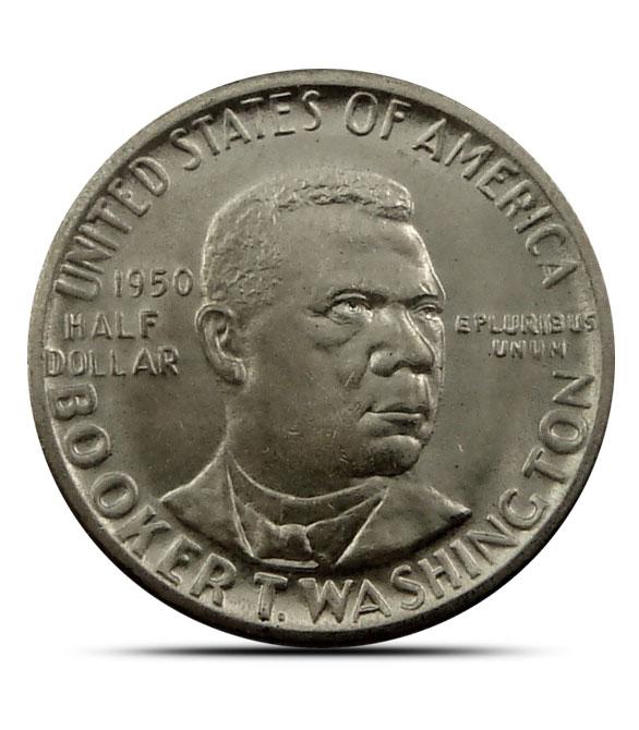 AU+ Booker T. Washington Silver Half Dollar