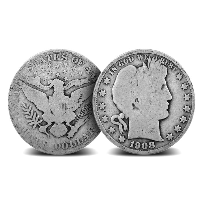 90% Silver Average Circulated Barber Half Dollars | $1 Face Value
