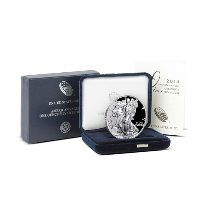 2014 Proof American Silver Eagle with Box & COA