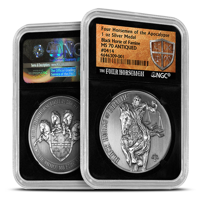 Antique Black Horse of Famine NGC MS70
