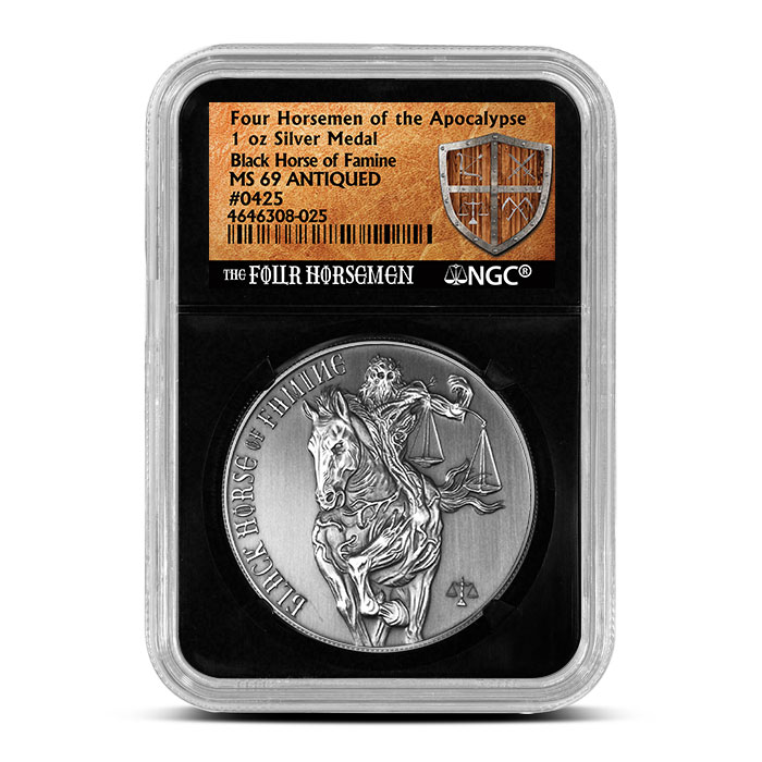 Antique NGC MS69 Black Horse of Famine