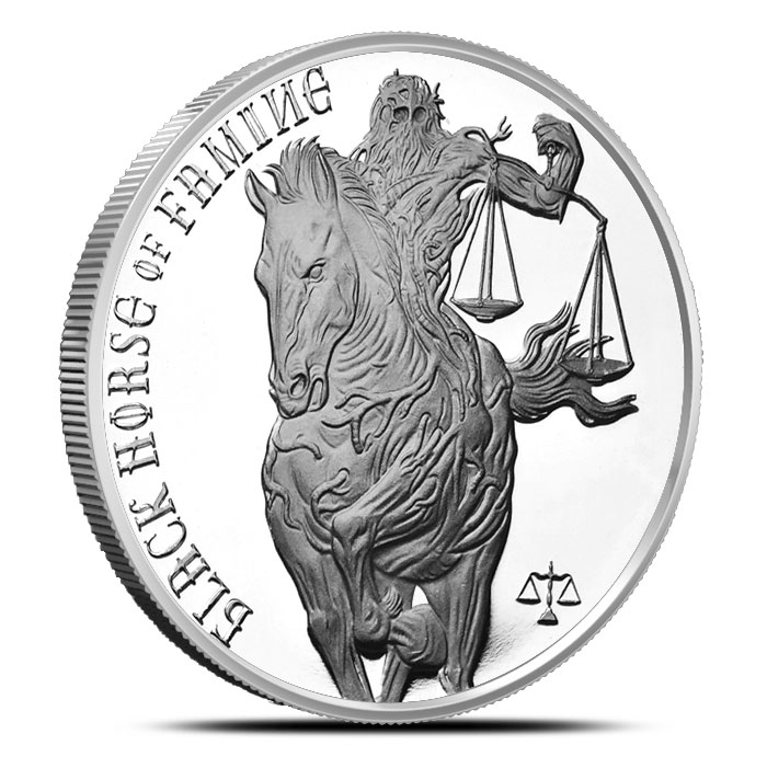 Black Horse of Famine Silver Round