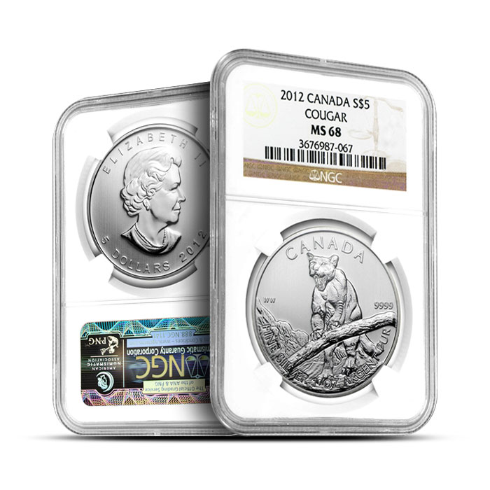 2012 1 oz Canadian Silver Cougar | NGC MS68