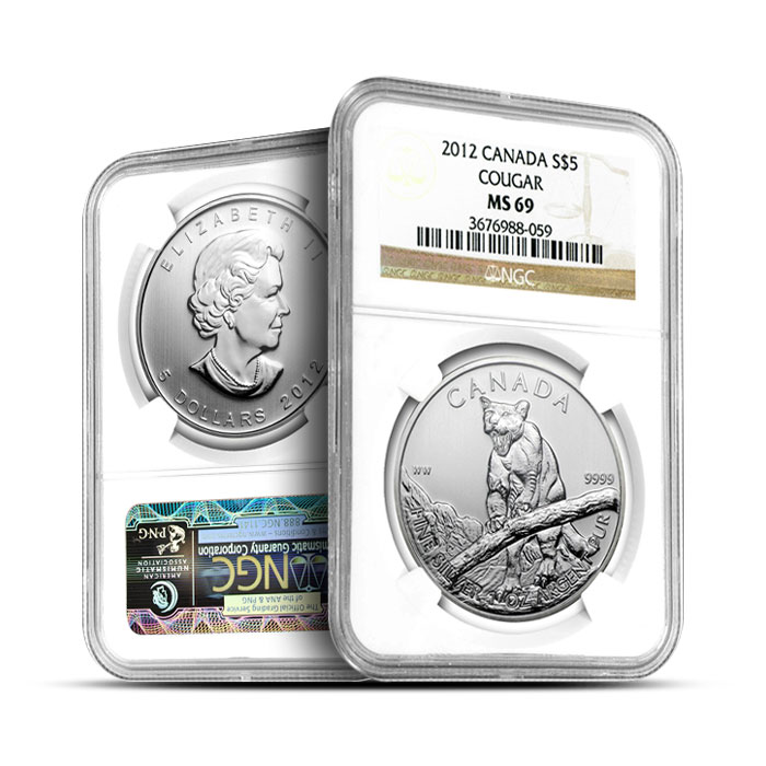 2012 1 oz Canadian Silver Cougar | NGC MS69