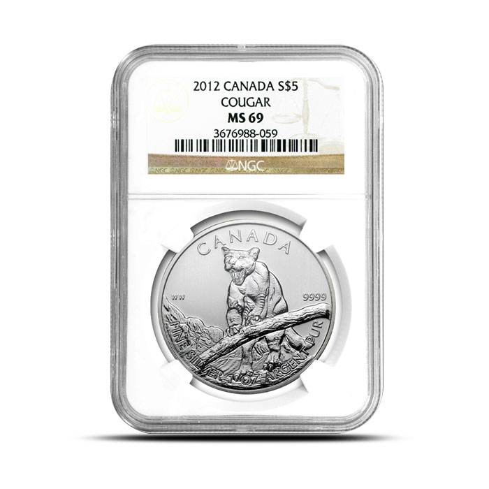 2012 1 oz Canadian Silver Cougar | NGC MS69 Obverse Case