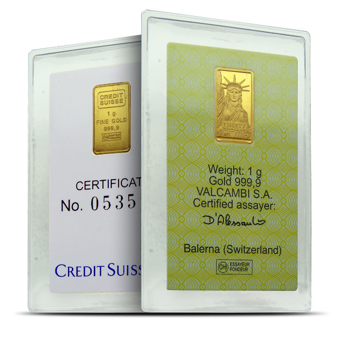 Credit Suisse 1 g Gold Bar | Statue of Liberty
