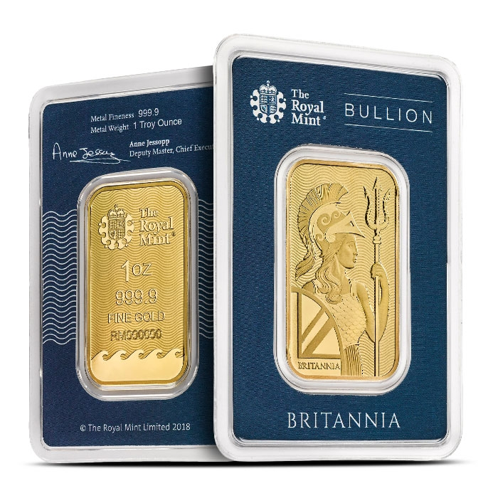 1 oz Gold Britannia Bar in Assay Card Front & Back