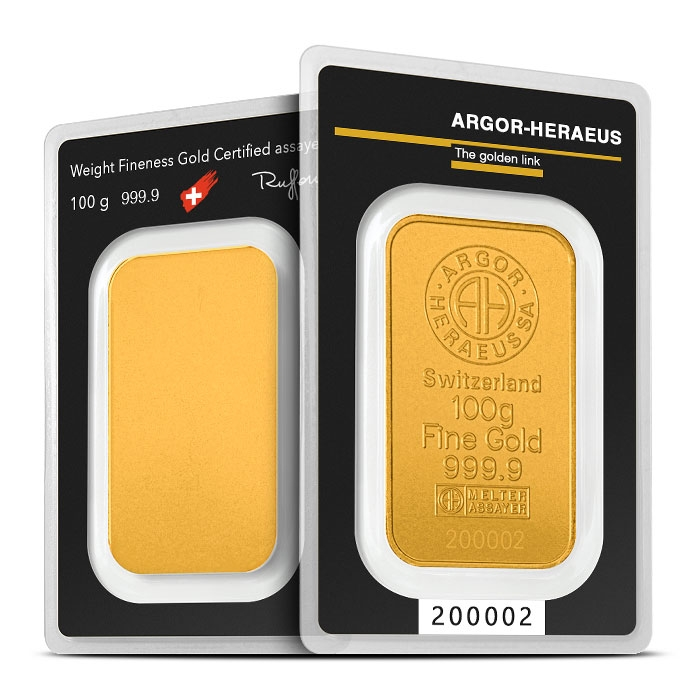 100 gram Gold Bar | Argor-Heraeus