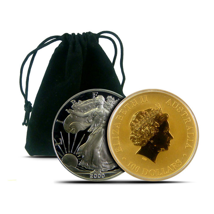 "Black Velour Drawstring 2.75"" x 3.25"" Coin Pouch"