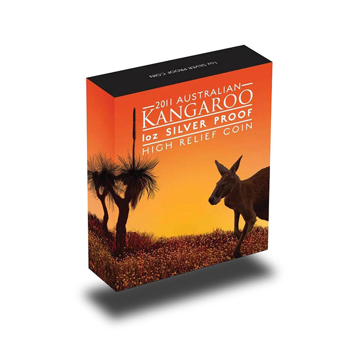 2011 1 oz Proof Silver Kangaroo High Relief Bulion Coin Box