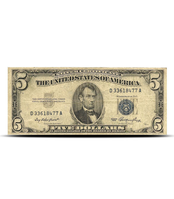 $5 Silver Certificate | Small Size Series 1953 | Circulated