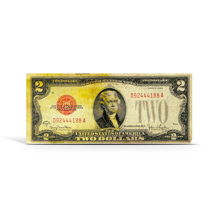 $2 Legal Tender US Note   Small Size 1928   AG/Cull-9639