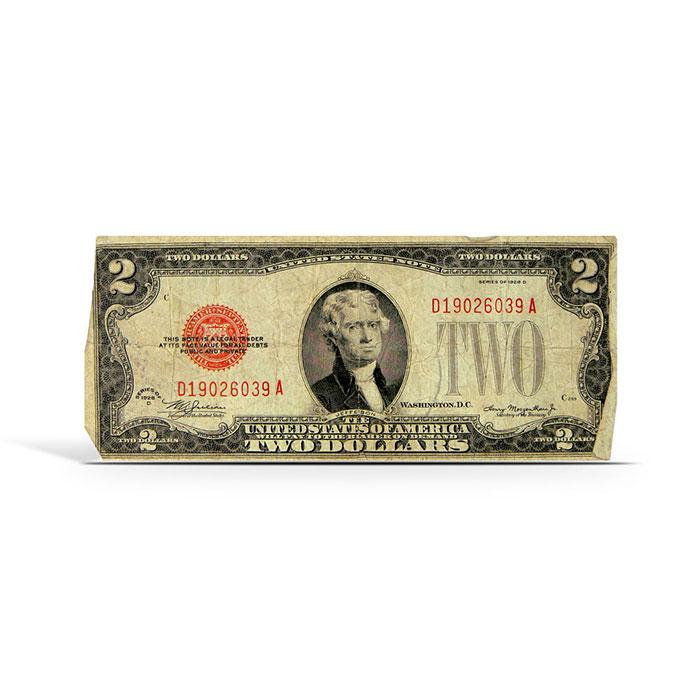 $2 Legal Tender Small Size US Note 1928   AG/Cull Red Seal