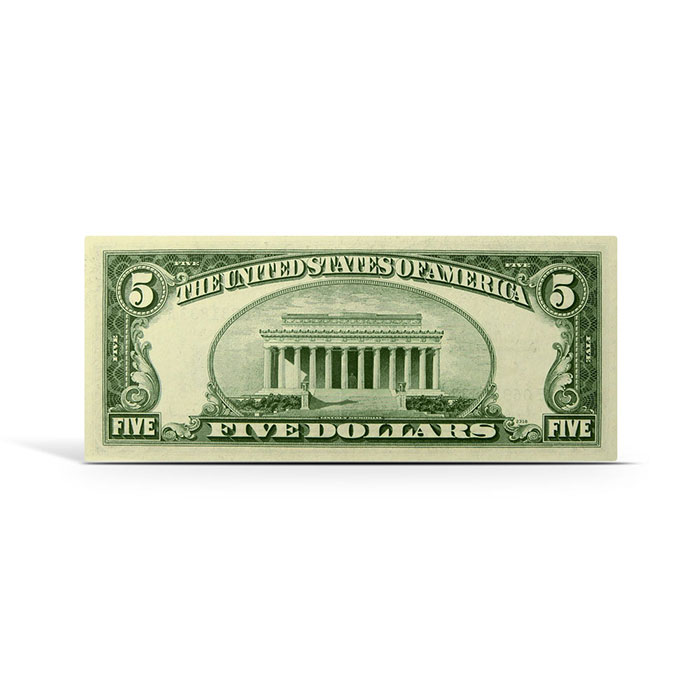 $5 Blue Seal Silver Certificate | Uncirculated Small Size Series 1953 Reverse