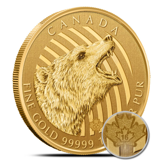 2016 1 oz Gold Roaring Grizzly Bear | Royal Canadian Mint