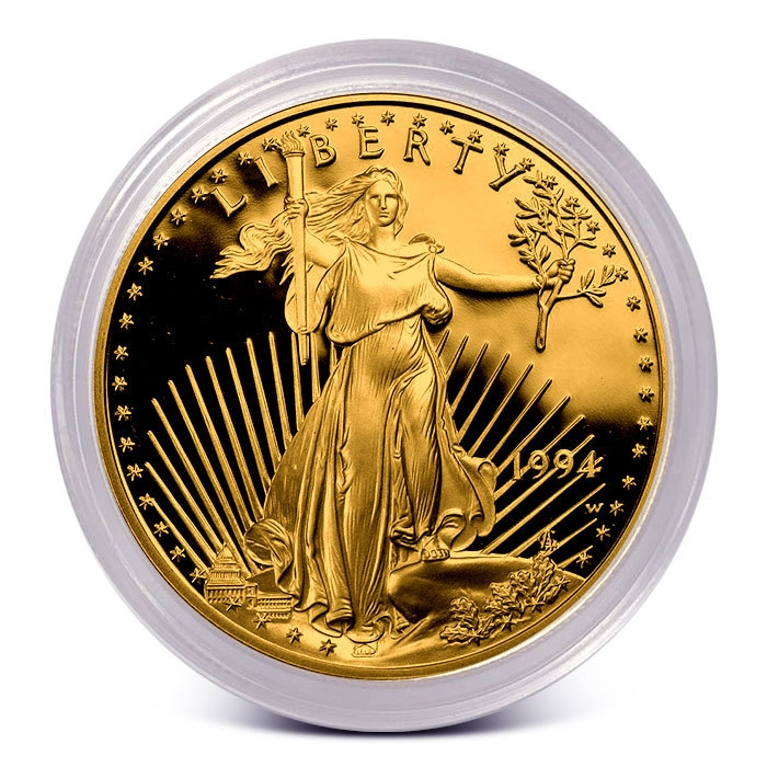 1 oz Proof Gold Eagle in Capsule Obverse