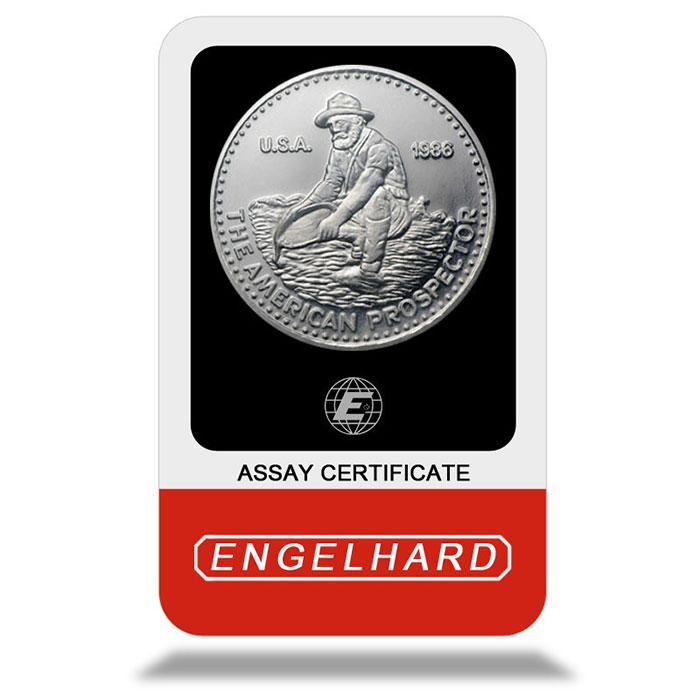 1 oz Platinum Engelhard Prospector with Assay Card