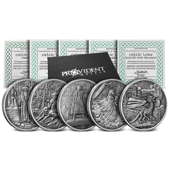 Celtic Lore 1 oz Antiqued Silver Set with Box and COA