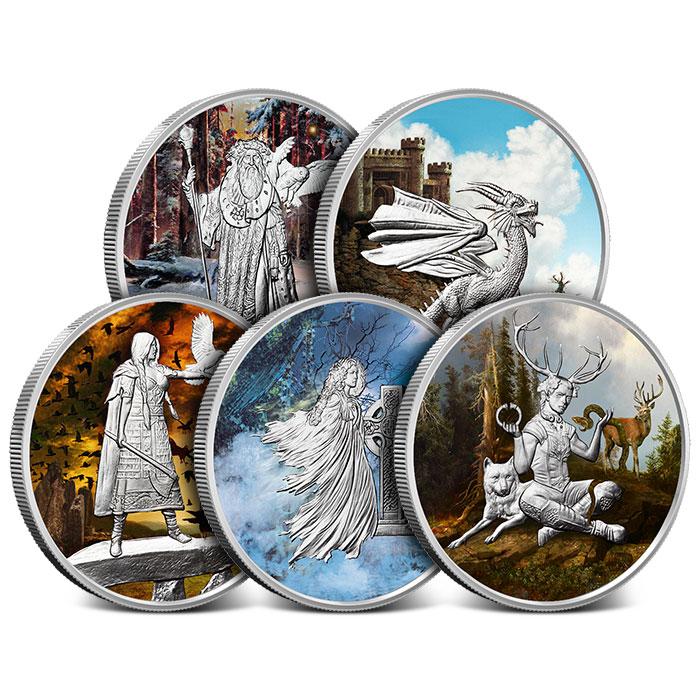 Celtic Lore 1 oz Colorized Silver Set