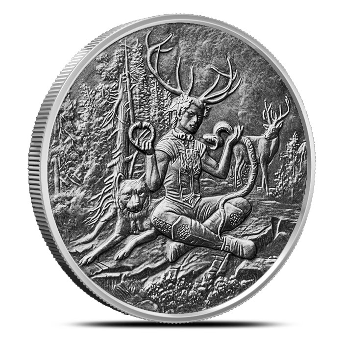 Cernunnos 1 oz Silver Antiqued Round | Celtic Lore