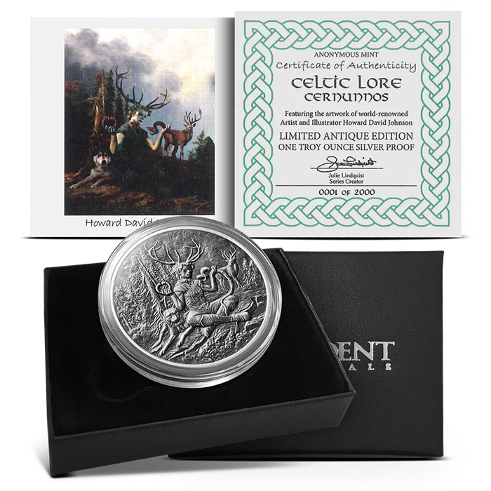 Cernunnos 1 oz Silver Antiqued Round | Packaging