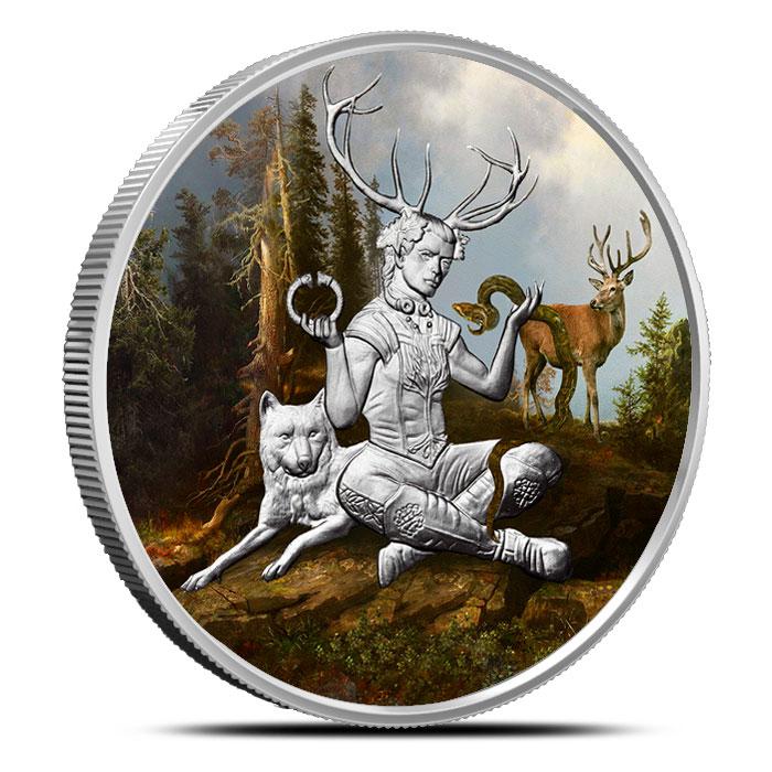 Cernunnos 1 oz Silver Colorized Round | Celtic Lore