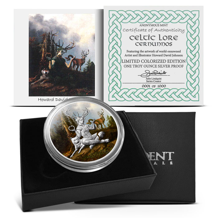 Cernunnos 1 oz Silver Colorized Round | Packaging