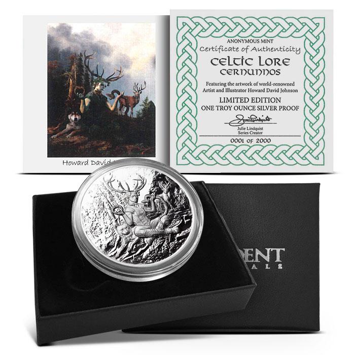 Cernunnos 1 oz Silver Proof Round | Packaging