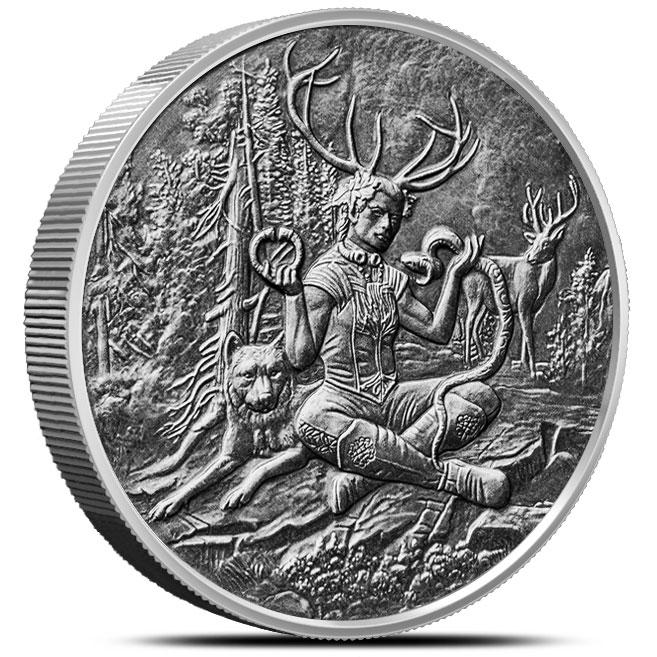 Cernunnos 5 oz Antiqued Silver Round | Celtic Lore