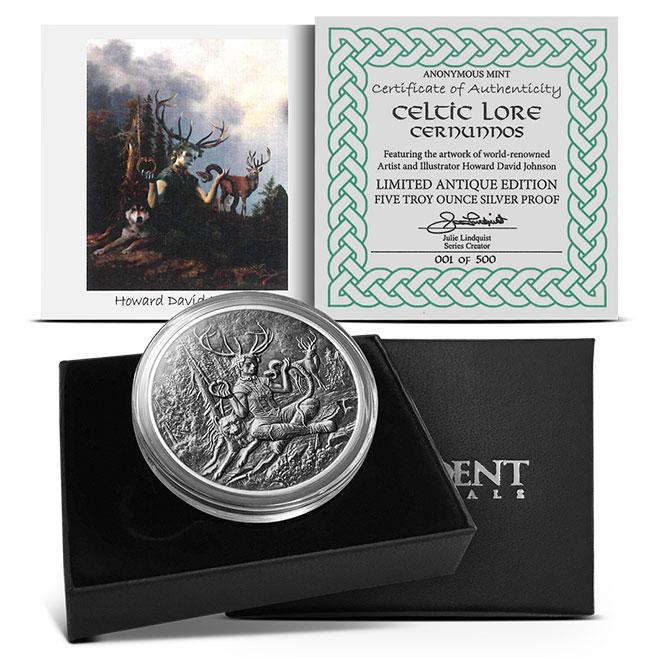 Cernunnos 5 oz Antiqued Silver Round | Packaging