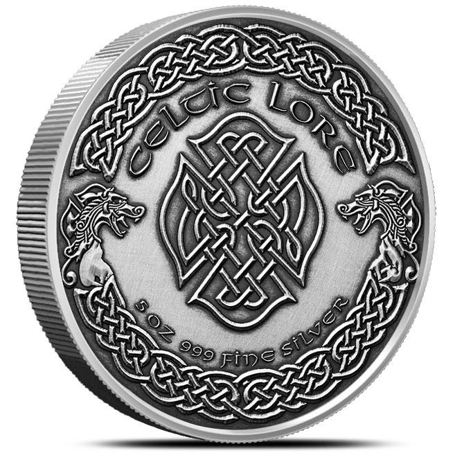 Cernunnos 5 oz Antiqued Silver Round | Reverse
