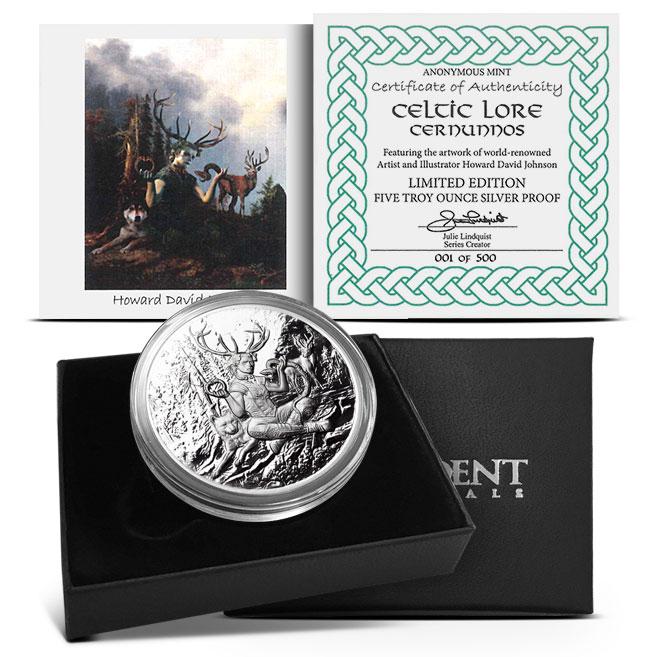 Cernunnos 5 oz Proof Silver Round   Packaging