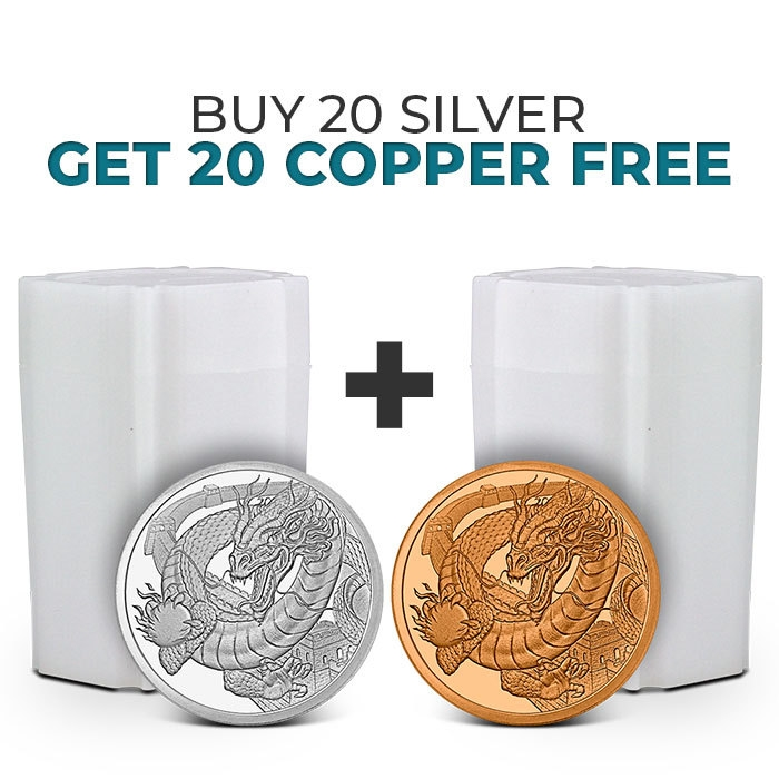 Buy 20 Chinese Dragon Silver Rounds, Get 20 Chinese Dragon Copper Rounds