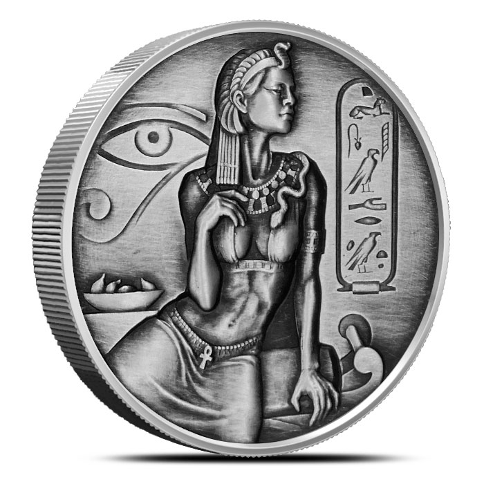 Cleopatra 2 oz Silver Round | Antiqued