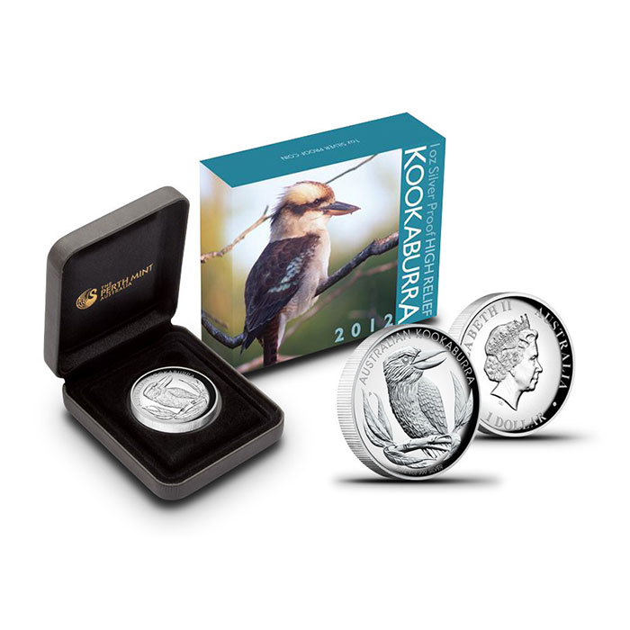 2012 High Relief 1 oz Kookaburra with Box and Case