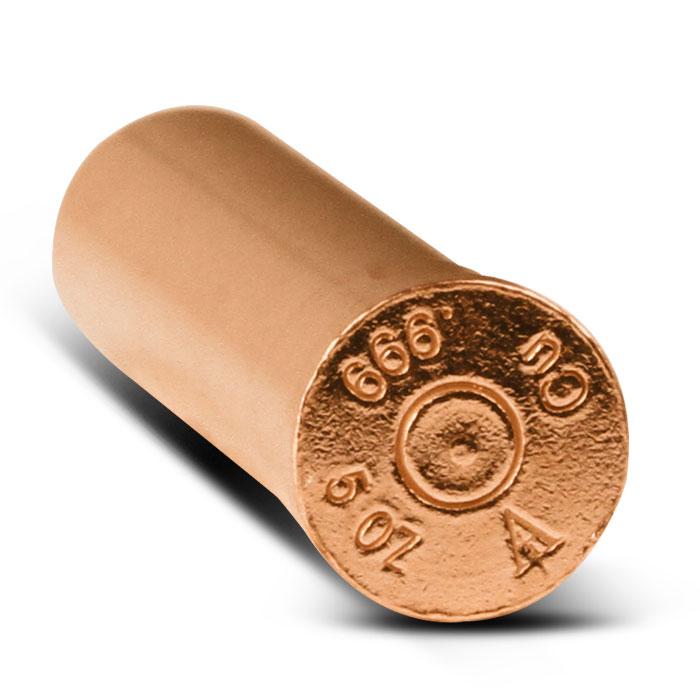 5 oz Copper Bullet | 12 Gauge Shotgun Shell End View