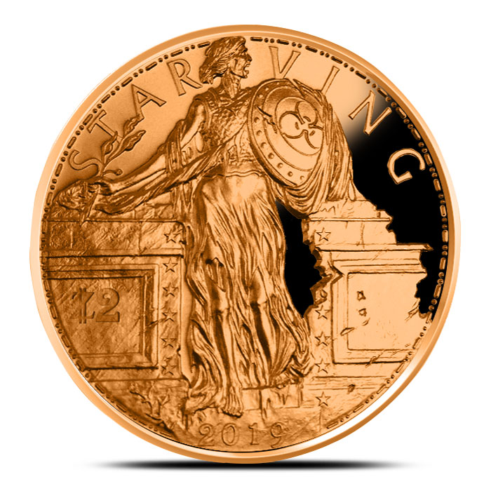 1 oz Copper Starving Liberty proof round