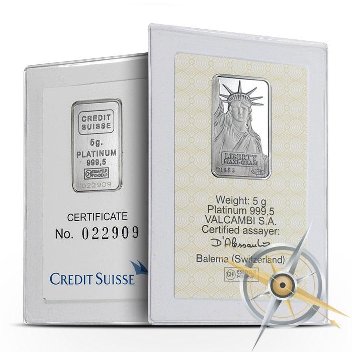 Credit Suisse 5 gram Platinum Bar