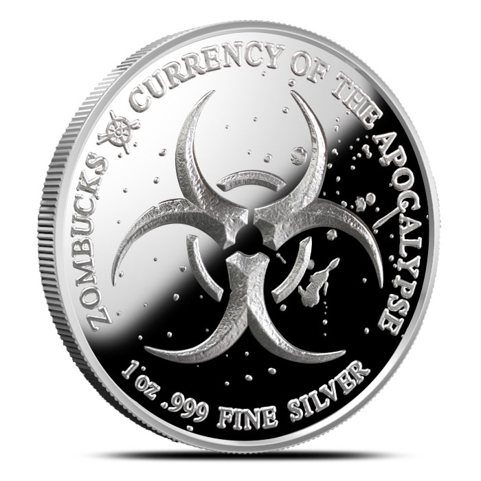 Zombucks Proof Dying Eagle 1 oz Silver Round